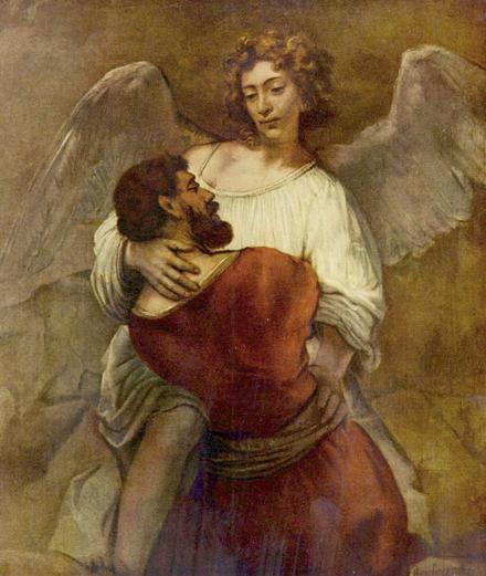 Jacob's gevecht met de engel. Rembrandt 1659.440x520px.144dpi